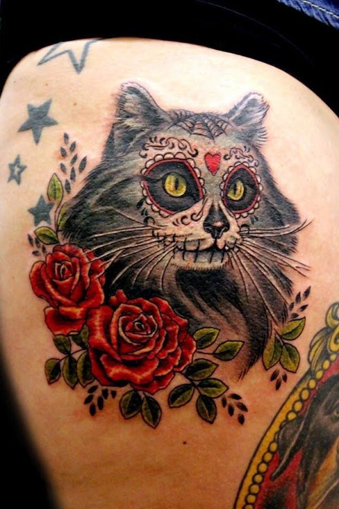 Sugar skull cat tattoo