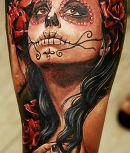 Sugar skull lady tattoo by Dmitriy Samohin