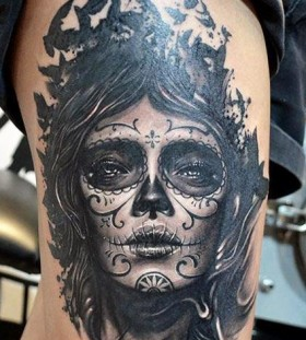 Sugar skull lady tattoo by Elvin Yong