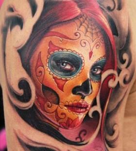 Sugar skull lady tattoo by James Tattooart