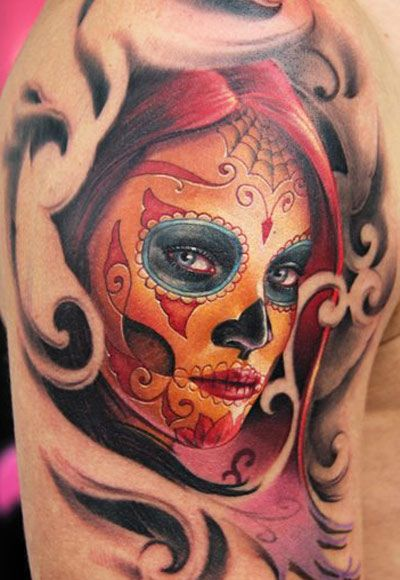 Sugar skull lady tattoo by James Tattooart