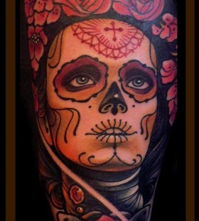 Sugar skull lady tattoo by Lars Uwe Jensen