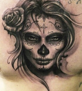 Sugar skull tattoo by Riccardo Cassese