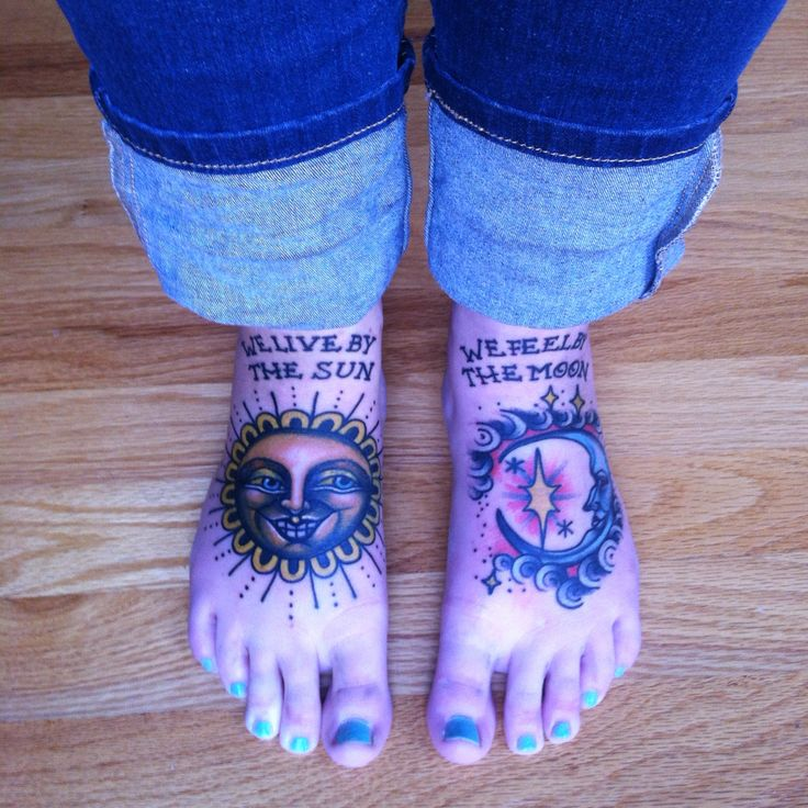 Sun and moon foot tattoos by Eva Huber