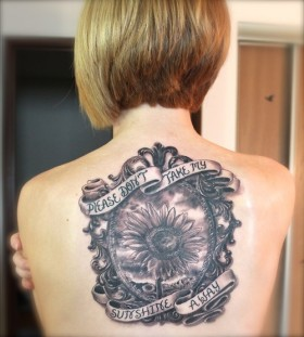 Sunflower frame and quote tattoo