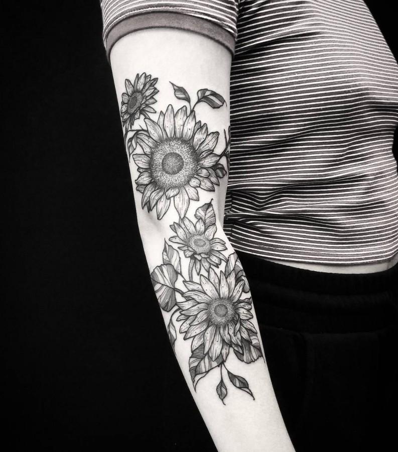 sunflower tattoo by thomasetattoos