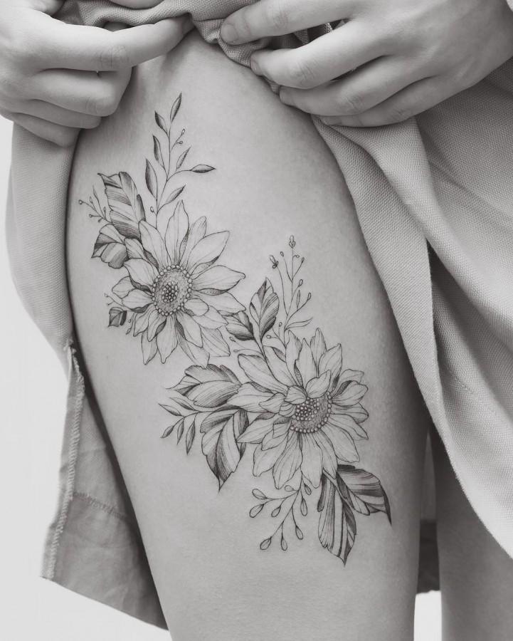 sunflowers leg tattoo by tritoan_seventhday