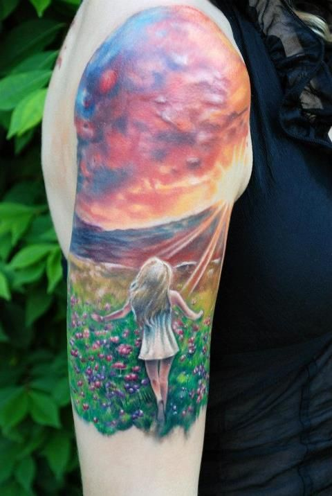 Sunset and girl tattoo by Kyle Cotterman