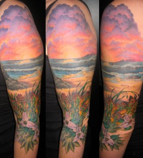 Sunset on the beach tattoo