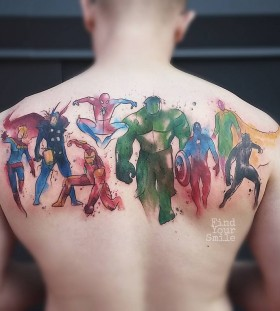 super-heros-watercolor-tattoo