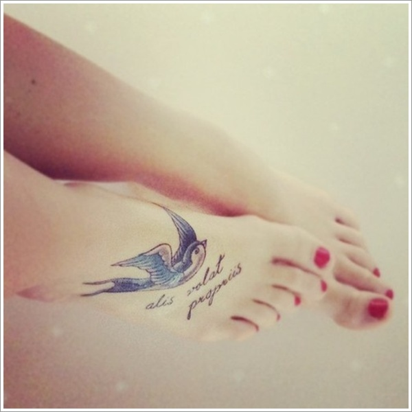 Swallow and quote foot tattoo