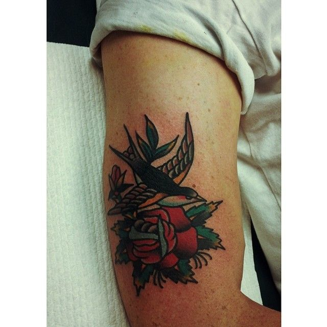 Swallow and rose tattoo by Charley Gerardin