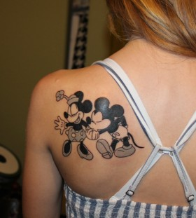 Sweet Minnie and Mickey back tattoo