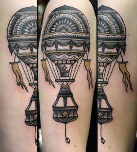 Sweet air balloon tattoo by Philip Yarnell