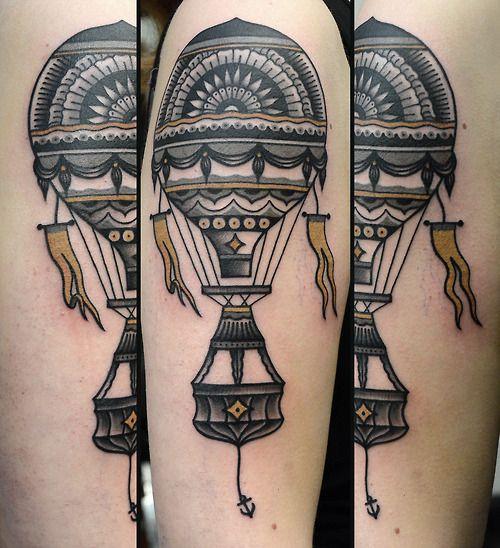 Sweet air balloon tattoo by Philip Yarnell