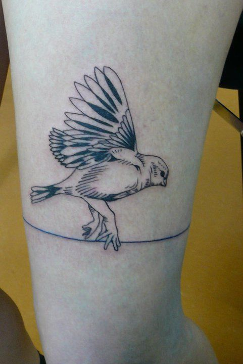 Sweet bird leg tattoo
