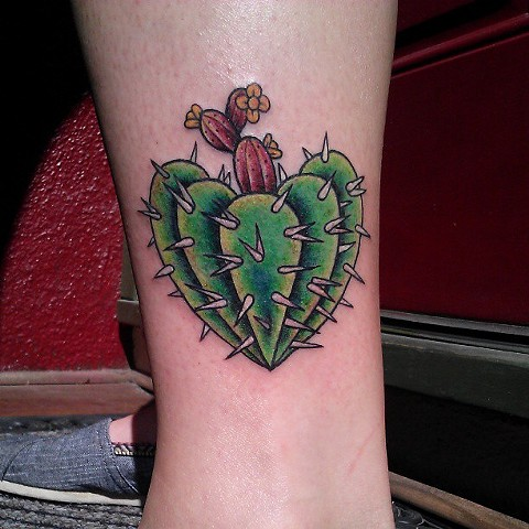 Sweet cactus leg tattoo