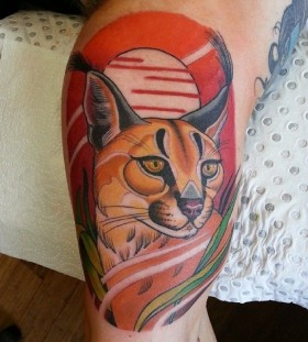 Sweet cat tattoo by Drew Shallis