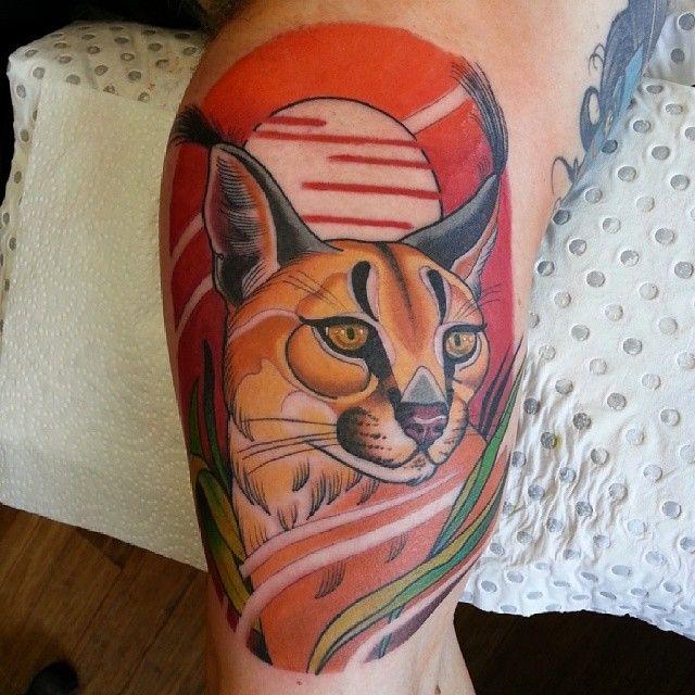 Sweet cat tattoo by Drew Shallis