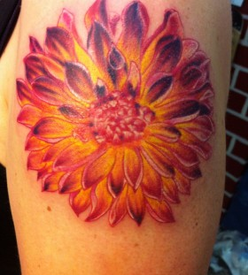 Sweet dahlia arm tattoo
