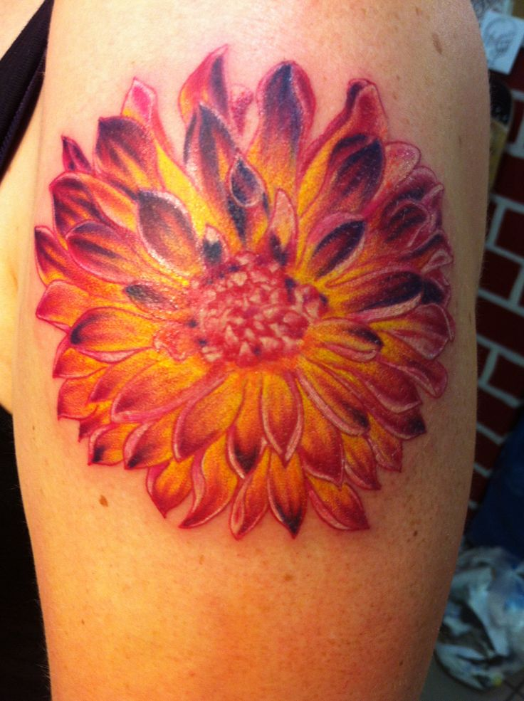 Tattoo Ink Colors >> Sweet dahlia arm tattoo - | TattooMagz › Tattoo Designs / Ink Works / Body Arts Gallery
