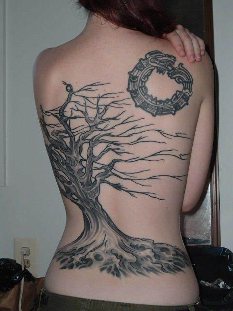 Sweet dead tree back tattoo