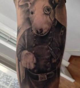 Sweet dressed up dog tattoo by Razvan Popescu