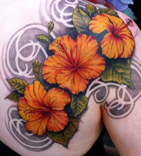 Sweet flowers back tattoo by Jon Mesa