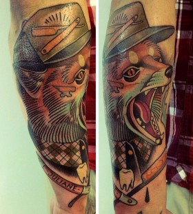 Sweet fox tattoo by Alex Dorfler