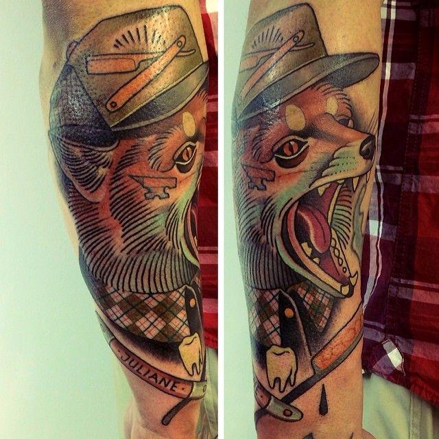 Sweet fox tattoo by Alex Dorfler