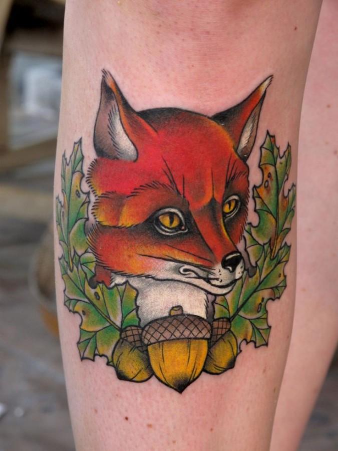 Sweet fox tattoo design