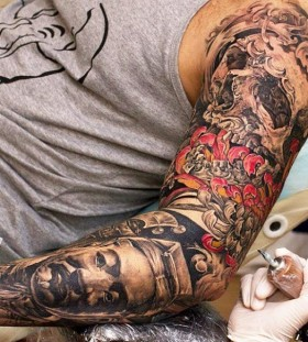 Sweet full arm tattoo design