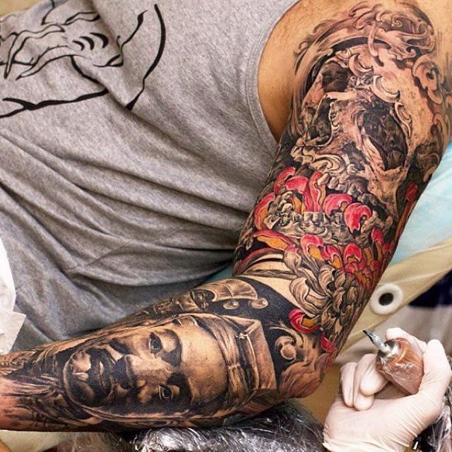 Sweet full arm tattoo design