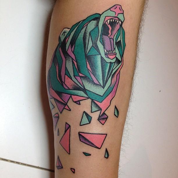 Sweet geometric bear tattoo