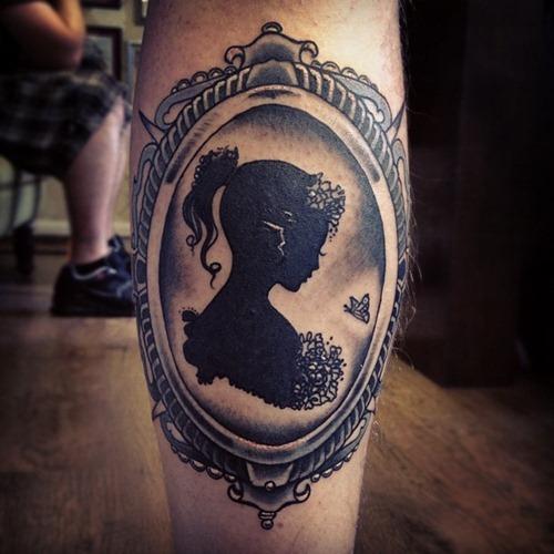 Sweet girl frame leg tattoo