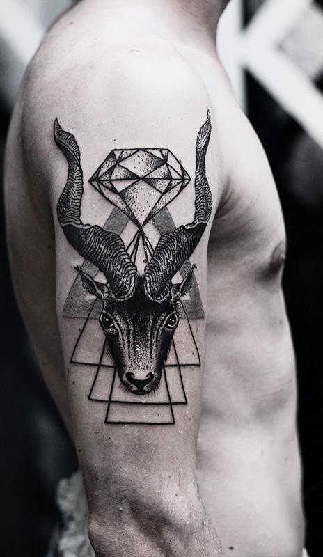 Sweet goat tattoo design