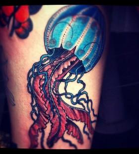 Sweet jellyfish leg tattoo