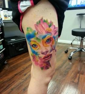 Sweet leg tattoo by Kyle Cotterman