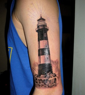 Sweet lighthouse arm tattoo
