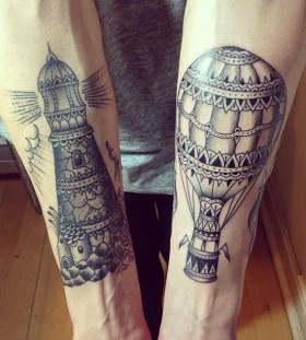 Sweet lighthouse tattoo design