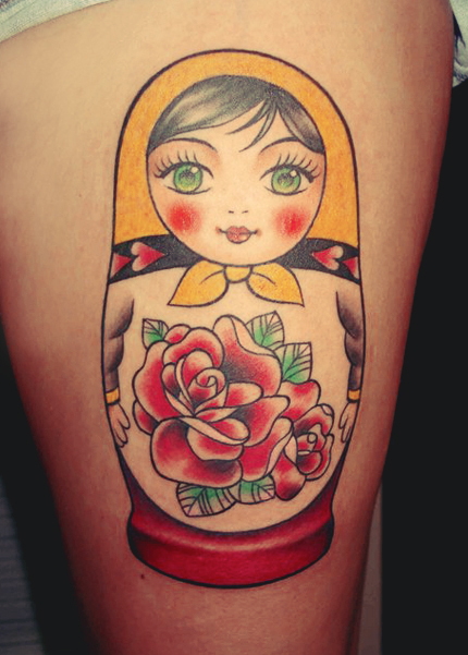 Sweet matryoshka with rose tattoo