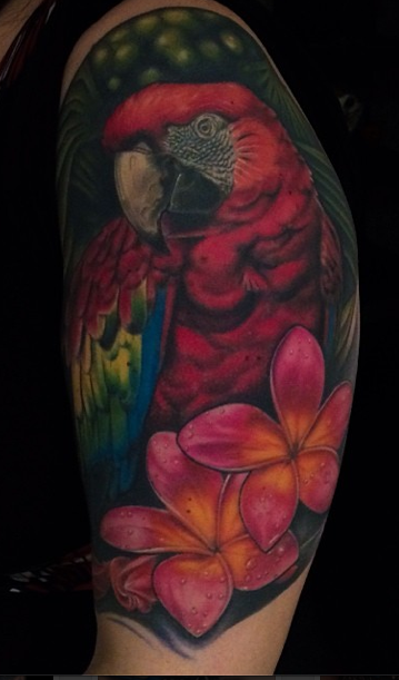 Sweet parrot and flowers tattoo