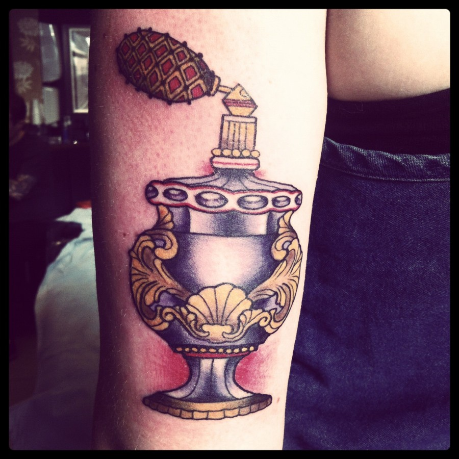 Sweet perfume bottle tattoo