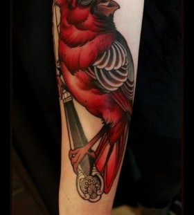 Sweet red bird tattoo
