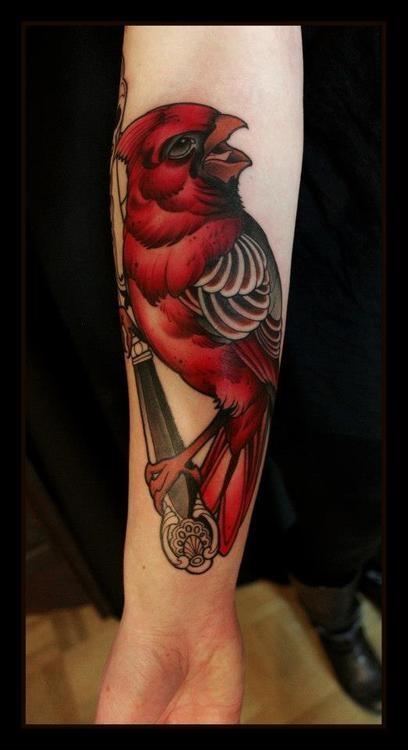 Sweet red bird tattoo