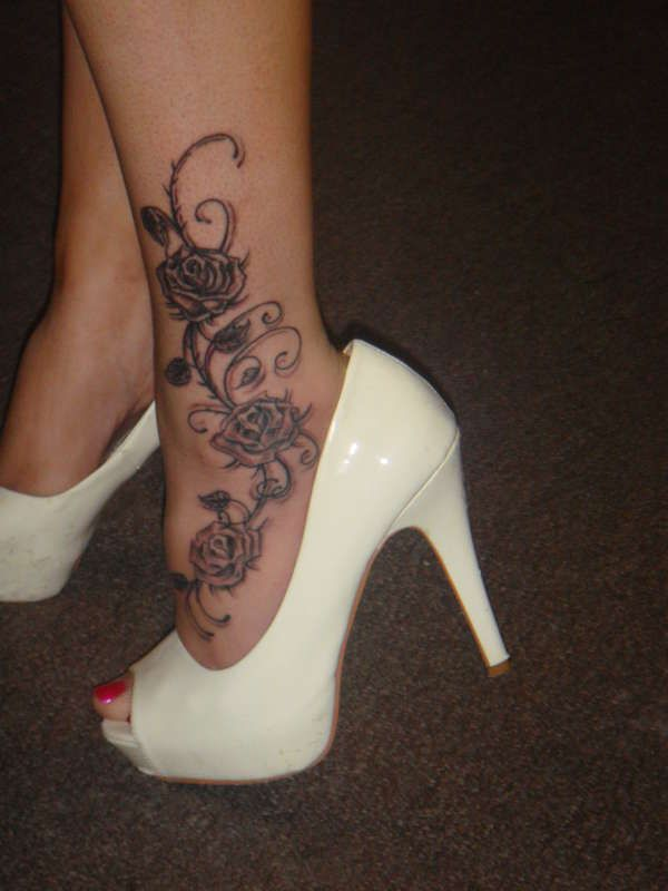 Sweet roses ankle tattoo