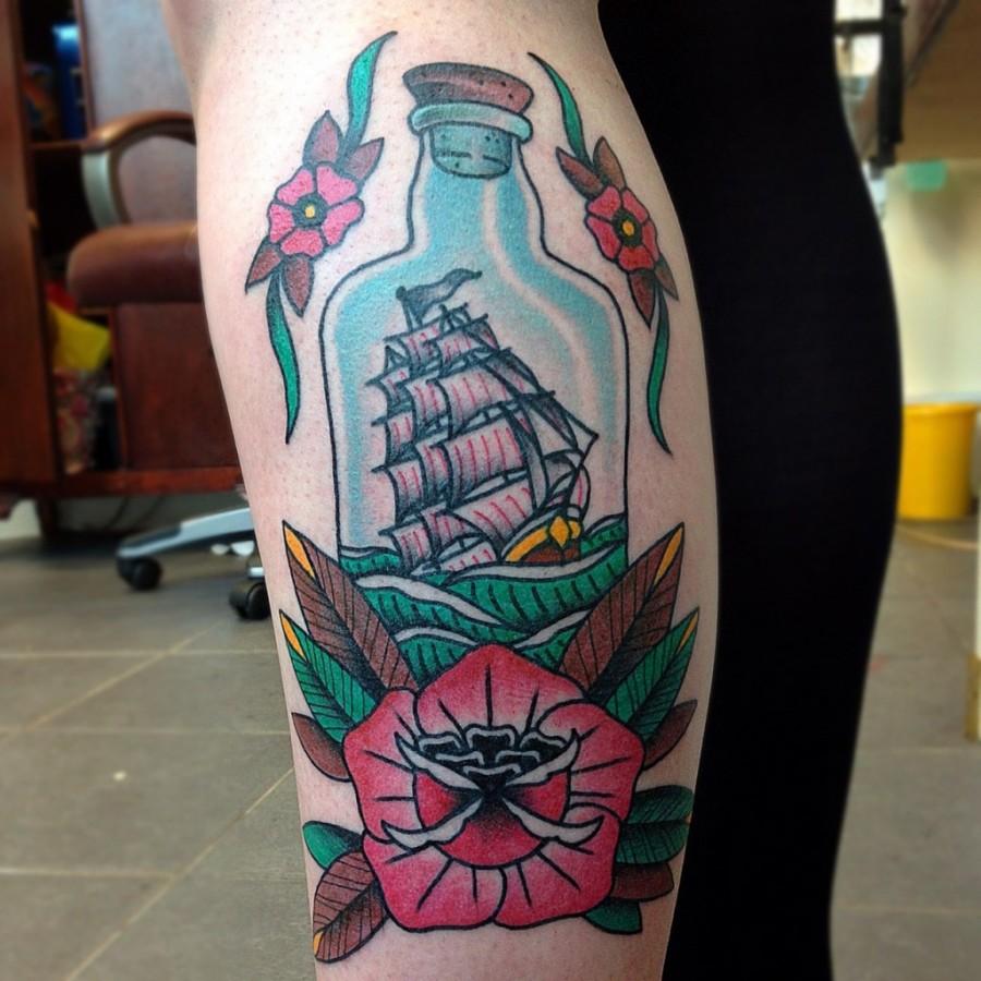 Sweet ship in a bottle tattoo