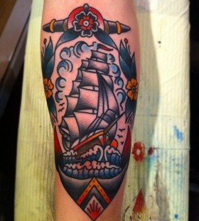 Sweet ship tattoo by Nick Oaks