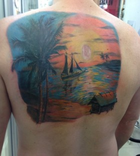 Sweet sunset back tattoo