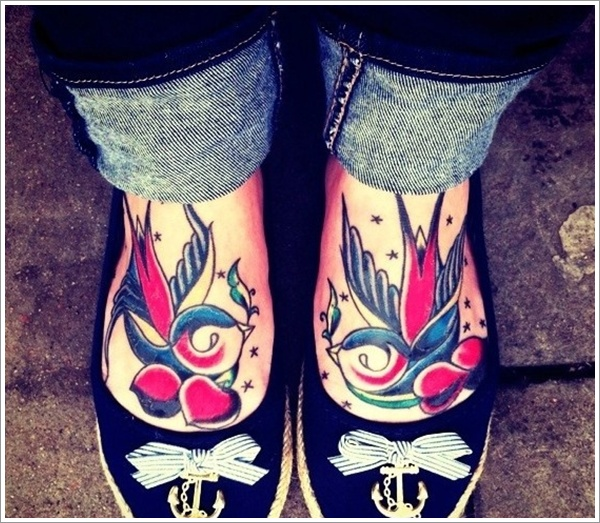 Sweet swallow foot tattoos